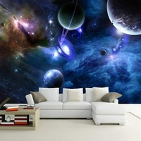 Custom 3D Photo Wallpaper Star Planet Universe Space Planet Wall Paper Home Decor Living Room Bedroom Ceiling Mural Wallpaper
