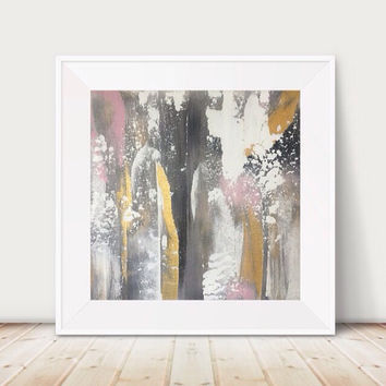 Free shipping! Large gold and black painting pink and black painting metallic gold abstract painting metal wall art gold decor pink and gold