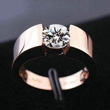 ac spbest Classic Engagement Ring 18K Real Rose Gold Plated  New Fashion Wedding Ring for Men Women