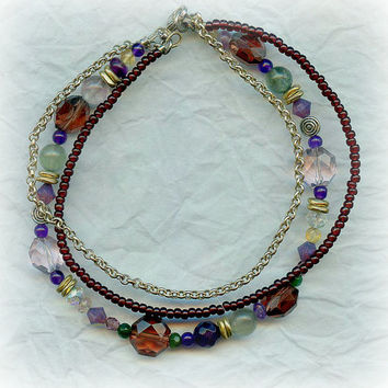 3 Strand Gemstone Beaded Anklet Anklet Bracelet Purple Made Gemstones Citrine, Quartz, Green Agate, Rainbow Flourite, Swarovski Crystals