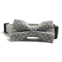 Dog Collar - Collar and Bow Tie - Gray Dog Collar - Polka Dot Collar - Wedding Dog Collar - Collar Bow Tie Set - White Polka Dot Dog