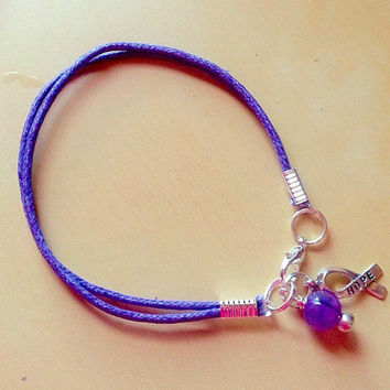 Purple Awareness Ribbon Cotton Bracelet-Charm-Friendship-Alzheimer's-Cystic Fibrosis & much more...