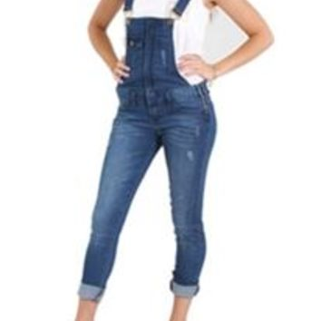 Klique B by Flying Monkey Basic Skinny Overalls for Women KL156