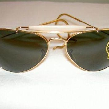 Kalete New RAY BAN Sunglasses AVIATOR OUTDOORSMAN Gold RB 3030 L0216 G-15 Glass Lens