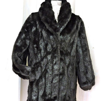 Stunning Faux fur coat / size M 8 / 12 / vintage 80s faux mink coat / black faux fur / Monterey Fashions USA