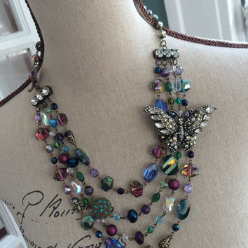 Multi Strand Crystal Necklace with Butterfly Brooch