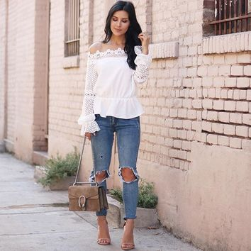 Give you a Stunning Crochet Off-shoulder Top in White