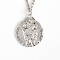 Vintage Sterling Silver St. Christopher Large Pendant Fob Necklace - Retro Repousse Catholic Saint Protect Us Charm Medal Creed Jewelry