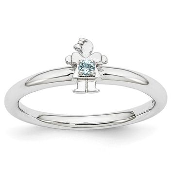 Rhodium Plated Sterling Silver Stackable Aquamarine 7mm Girl Ring
