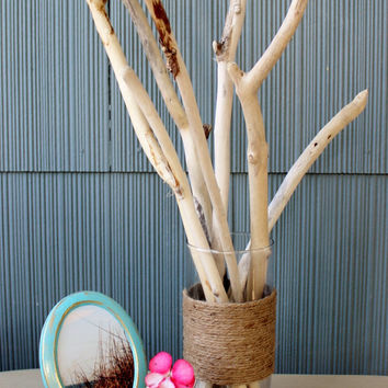 Keep it Coastal - sun Bleached Driftwood Branches in Twined Glass Vase , Beach Cottage Home Decor