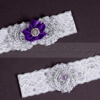 Bridal, Wedding Garter Set- Black Polka Dot Shabby Chiffon Flowers, Purple, White Lace