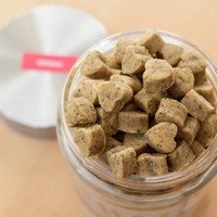 Homemade Cat Treats with Organic Catnip in Etched Glass Treat Jar - All Natural Healthy Pet Treats, Salmon, Tuna & Chicken Flavours - 11oz