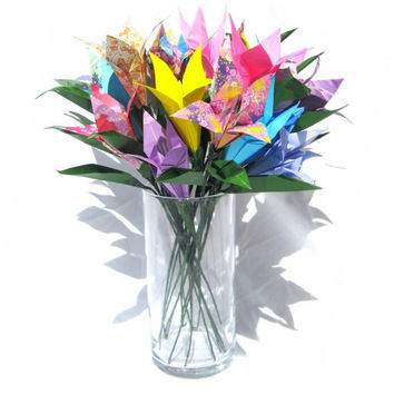 Origami Bouquet Origami Lily Bouquet for Spring Wedding Spring Home Decor Floral Arrangement Paper Flower