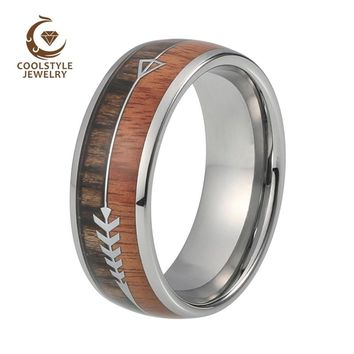 Natural Black Wood Tungsten Dome Ring with Koa Wood And Feathered Arrow Wedding Band Comfort Fit