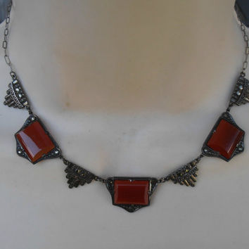Vintage Art Deco Sterling Necklace Carnelian Marcasite Geometric