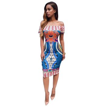 Women Traditional African Print Dashiki Bodycon Sexy Short Sleeve Dress