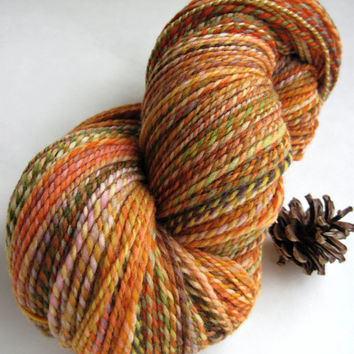 hand spun yarn, handspun yarn, hand dyed yarn, hand painted yarn, handpainted yarn, merino wool, 2 ply, orange green, barber pole, worsted