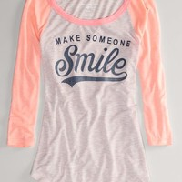 AEO Women's Smile Baseball T (Rose)