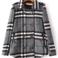 Plaid Double Buttoned with Back Slit Woolen Coat