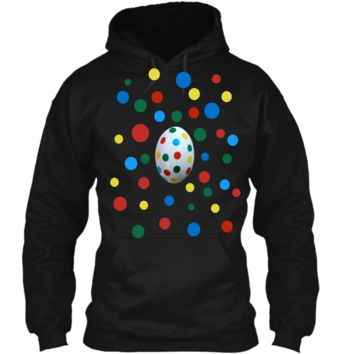 Easter Egg Polka Dots Now You See It Now You Dont Tee Pullover Hoodie 8 oz