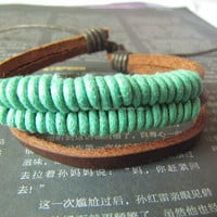 3 Cricles Brown Leather Bracelet made of Brown Leather and Green Ropes  mens bracelet womens bracelet422s
