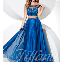 Bateau Neckline With Cap Sleeves Beaded Prom Dress Tiffany Designs 16076