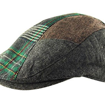 Men's Flat Cap Hat Herringbone Tweed Country Check Wool Mix Adjustable Newsboy Gatsby Golf (Grey Brown Green)