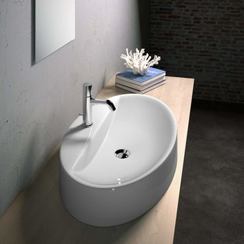 Gio Ceramic 29.5 in, Oval Vessel Sink Bowl Above Counter Sink Lavatory Washbasin