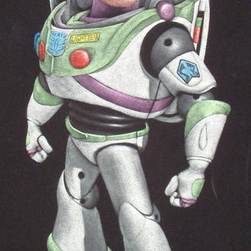 Disney toy story Buzz lightyear black velvet oil painting handpainted signed art
