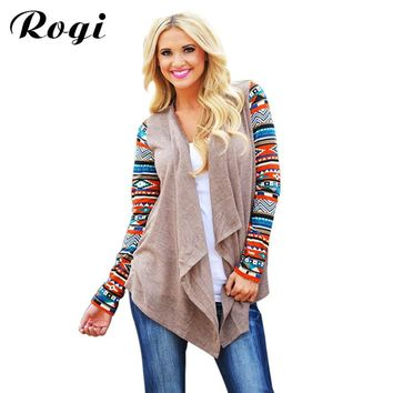 Rogi Women Long Cardigan Long Sleeve Knitted Poncho Sweater Coat Casual Tribal Print Asymmetrical Cardigans Outwear Pull Femme