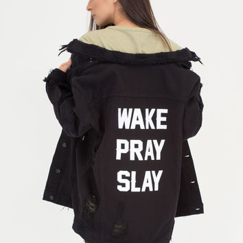 Wake Pray Slay Distressed Denim Jacket GoJane.com