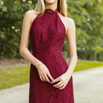 BB Dakota Cara High Neck Lace Dress In Burgundy