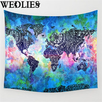 Polyester World Map Indian Mandala Wall Hanging Tapestry Throw Blanket Mat Cloth Home Room Dorm Art Wall Decorative Accessories