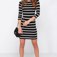 Black Stripe Sleeve Bodycon Dress