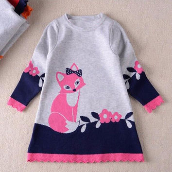 Girls Dresses Toddler Baby Kids Clothes Long Sleeve Fox Print Sweater Dress Warm Winter Kids Girl Party Wear disfraz princesa 21