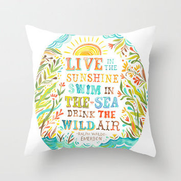 Wild Air Throw Pillow by Katie Daisy