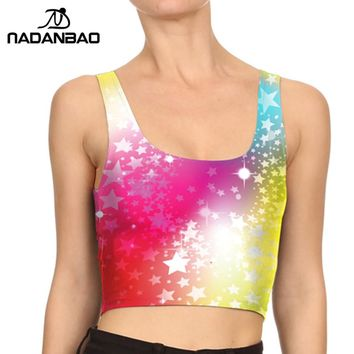 NADANBAO Brand  Summer Style Crop tops Van Gogh Starry Night Galaxy Print Star Deadpool Women Tank Top fitness Mujer Women tops