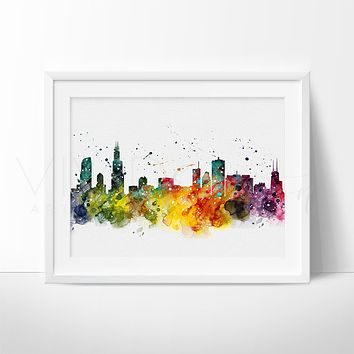 Chicago Skyline Watercolor Art Print