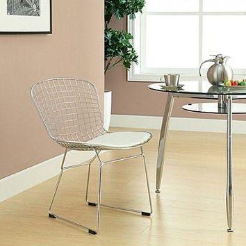 Side Dining Chairs Wire White Modern Vinyl Seat Sturdy Modern Home Accent Dorm