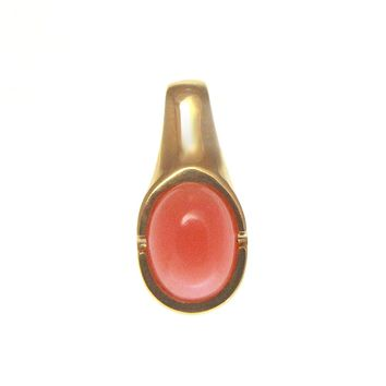 GENUINE NATURAL OVAL CABOCHON PINK CORAL PENDANT SOLID 14K YELLOW GOLD