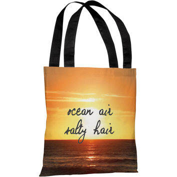 """Ocean Air, Salty Hair"" 18""x18"" Tote Bag by OneBellaCasa"