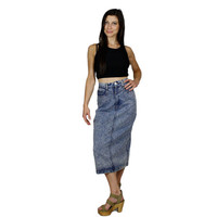 Acid Wash Denim Skirt /  High Waisted Pencil Skirt 1980s Womens Hipster Fashion / Jean Long Skirt  / size XS Extra Small