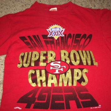 PEAPYD9 Sale!! Vintage SF 49ers Super Bowl Champs 1995 Football Shirt San Francisco NFL Jersey