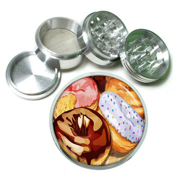 "Glazed Donut Colorful 4 Piece Silver Alumium Grinder 2.5"" Donuts Sprinkles"