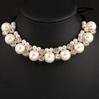 Crystal White Pearl Bridal Choker Necklace