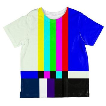 DCCKU3R Halloween SMPTE Color Bars Late Night TV Costume All Over Toddler T Shirt