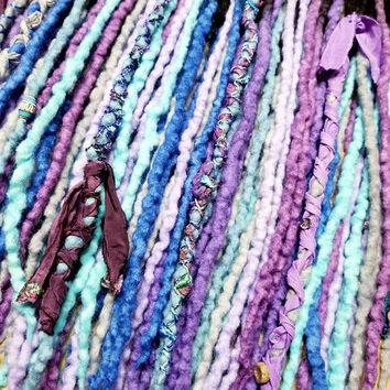 Wool Dreadlock Set of 50  Ended Dreads READY TO SHIP