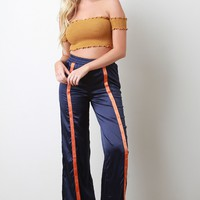 Satin Snap Buttons High Waisted Flared Pants