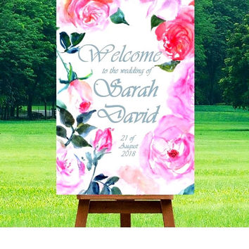 Wedding Welcome Sign, Pink fuchsia watercolor roses, Printable signs, floral Signage, gold silver decors, girl invite, custom personalized