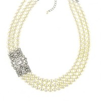 Art Deco Crystal and Pearl Multi-strand Necklace